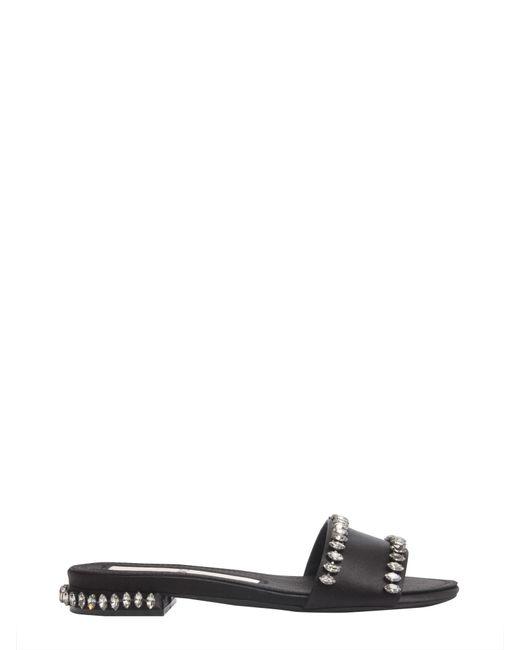 N°21 - Black Satin Slide Sandals With Crystals - Lyst