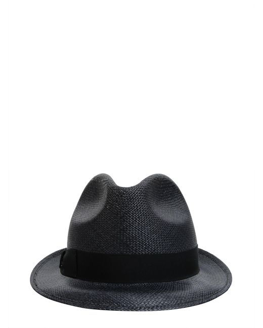 8ab0aa5193 Borsalino - Blue Cappello Panama Quito A Tesa Piccola In Canapa for Men -  Lyst ...