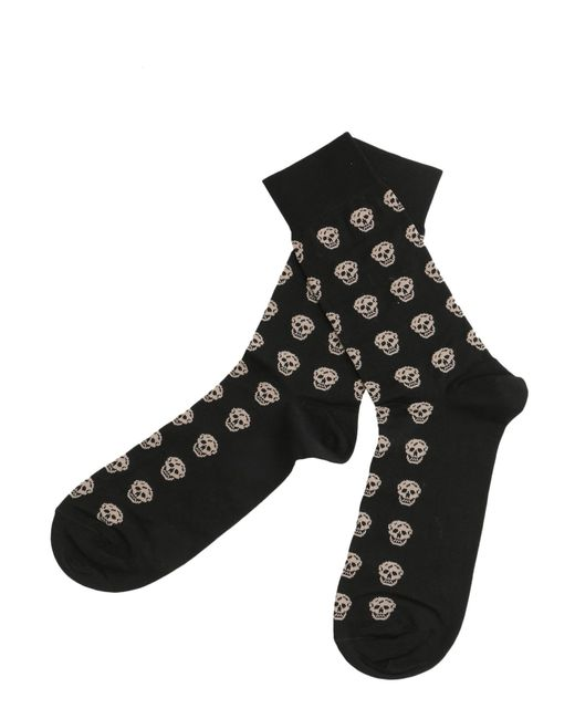 Alexander McQueen - Black Short Cotton Blend Skull Socks for Men - Lyst