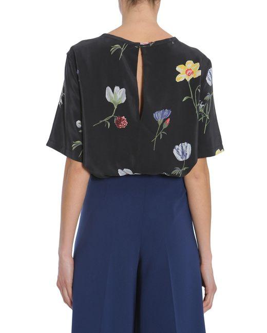 Equipment flower printed brinn silk shirt in black lyst for Equipment black silk shirt