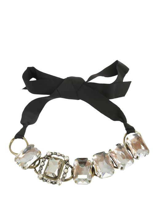 Lanvin - Black Choker Necklace With Jewels And Gros Grain Bow - Lyst
