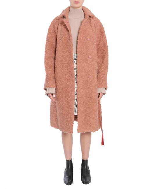 Carven - Pink Bouclè Wool Coat With Belt - Lyst