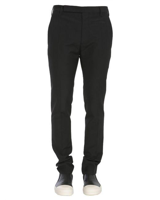 Rick Owens | Black Pantalone Slim Fit In Tela Di Lana for Men | Lyst
