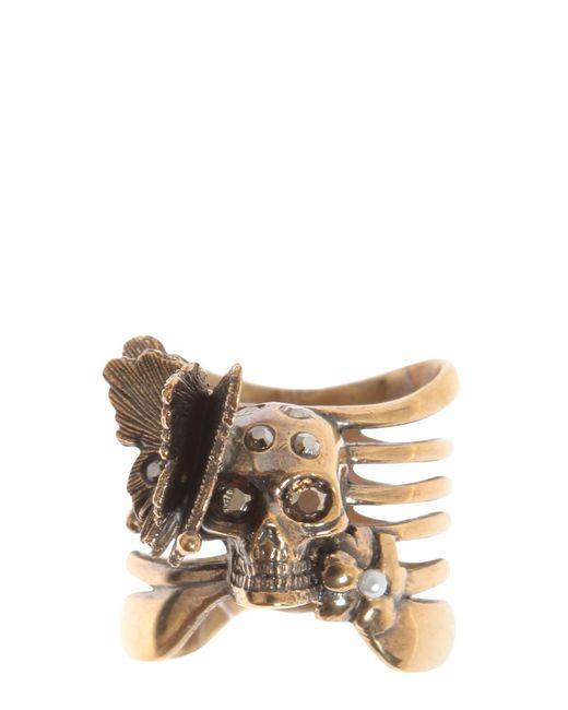 Alexander McQueen   Metallic Skeleton Butterfly Brass Ring   Lyst