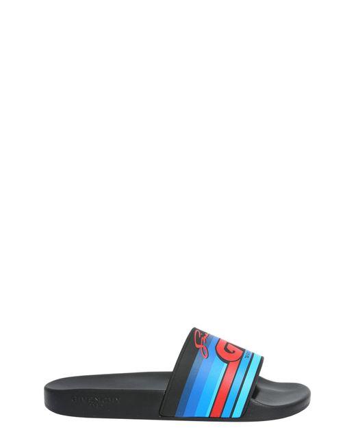 Givenchy - Blue Gv Printed Rubber Slide Sandals for Men - Lyst