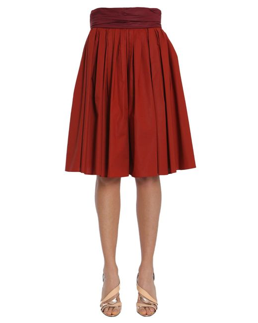 Paule Ka - Red Pleated Skirt In Stretch Cotton Poplin - Lyst
