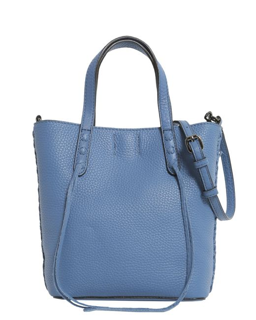 Rebecca Minkoff | Blue Mini Unlined Lleather Tote With Whipstitch | Lyst