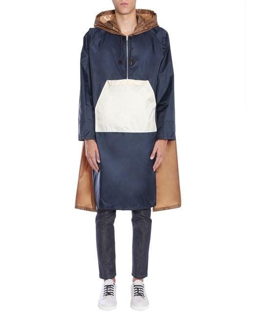 Marni - Blue Hooded Colour Block Raincoat for Men - Lyst