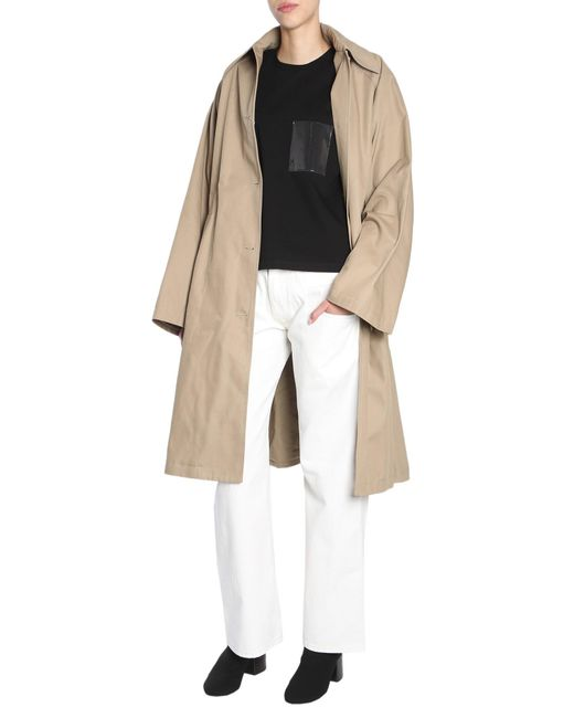 MM6 by Maison Martin Margiela - Natural Oversize Fit Cotton Gabardine Trench Coat - Lyst