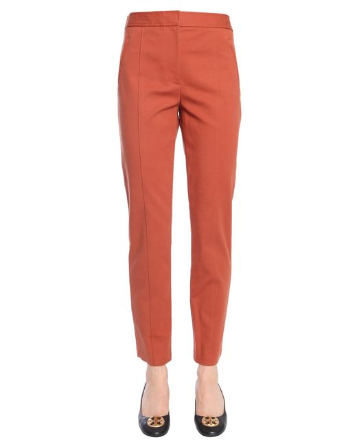 "Tory Burch - Brown ""vanner"" Trousers In Stretch Cotton - Lyst"