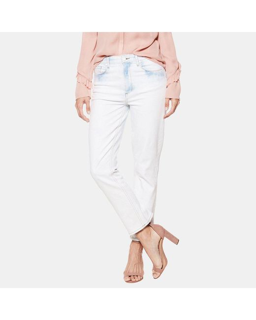 PAIGE - Sarah High Rise Straight Jean In Blue Burst - Lyst