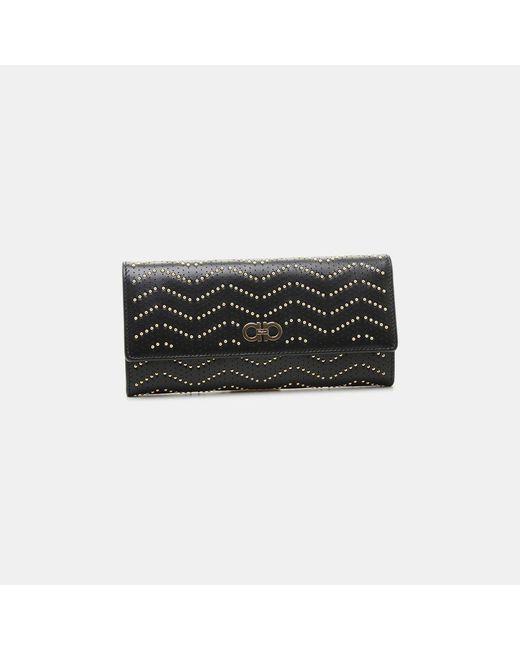 Ferragamo - Black Gancini Continental Studded Calfskin Wallet - Lyst