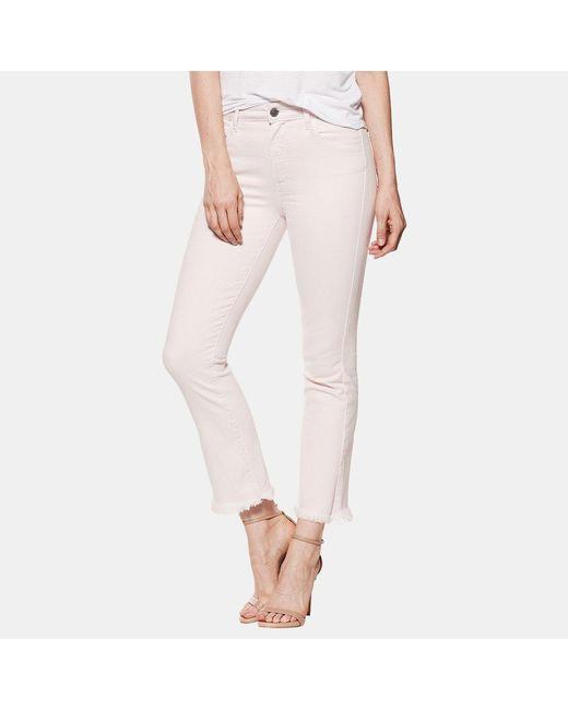 PAIGE - Pink Hoxton Straight Ankle With Heavy Fray Hem 4627208 - Lyst