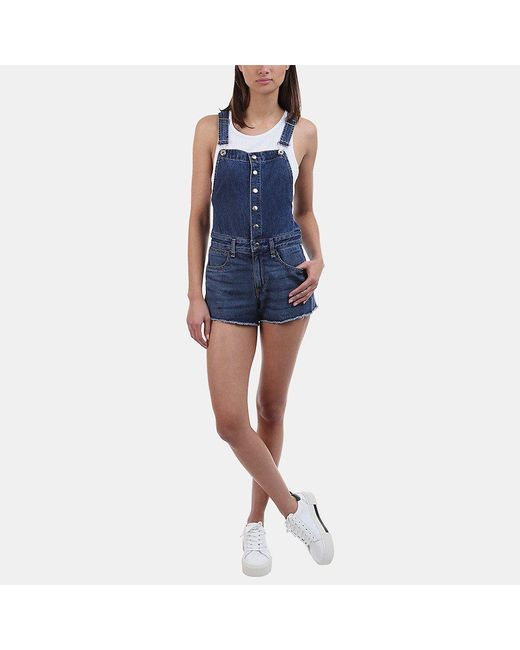 Rag & Bone - Lou Short Denim Overall In Bluebird - Lyst