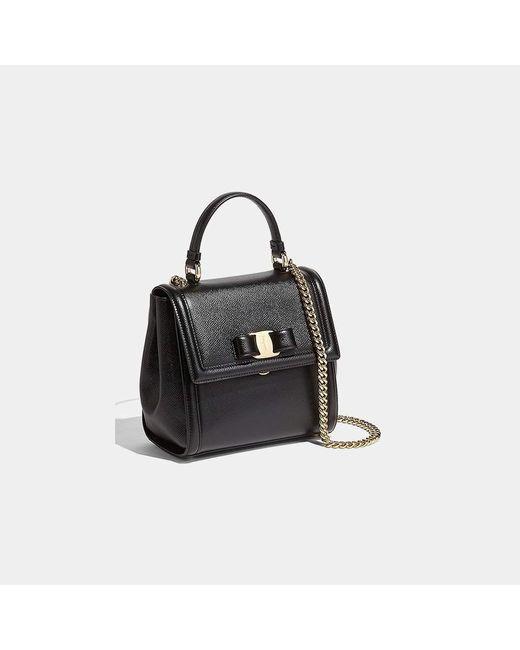 41aced9405f5 ... Ferragamo - Black Small Carrie Vara Bow Calfskin Shoulder Bag - Lyst ...