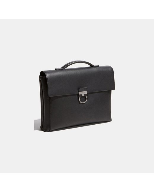 ... Ferragamo - Black Gancio New Smooth Calfskin Single Gusset Briefcase  for Men - Lyst ... e13847a9c7519