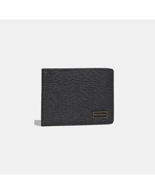 Ferragamo - Black Embossed Calfskin Bifold Wallet for Men - Lyst