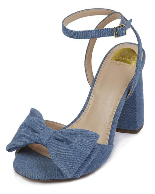 Eloquii - Blue Minnie Denim Bow Heel - Lyst