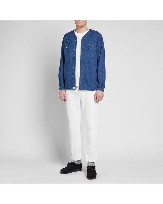 2ec7815393 ... Orslow - Blue No Collar Shirt for Men - Lyst