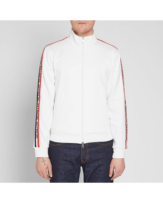 b14bf28e0 Moncler Taped Sleeve Zip Track Top in White for Men - Lyst