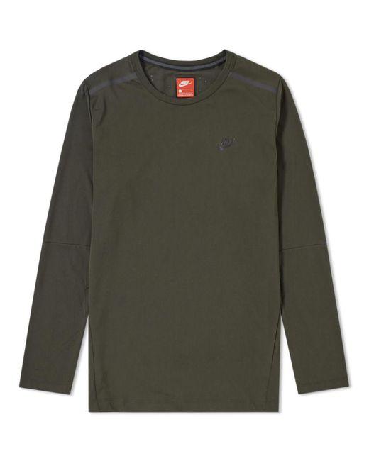 Nike - Green Bonded Long Sleeve Tee for Men - Lyst