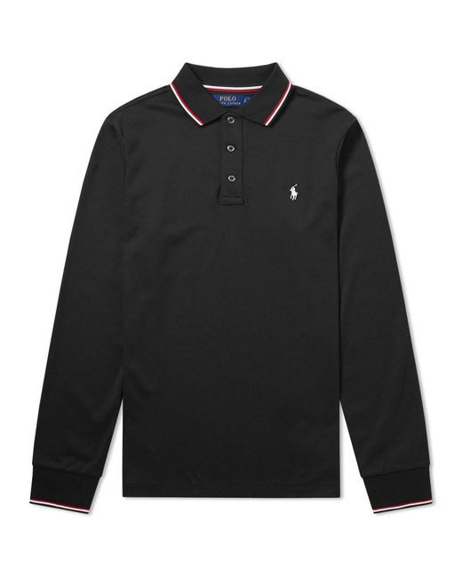 Polo Ralph Lauren | Black Long Sleeve Rwb Tipped Polo for Men | Lyst