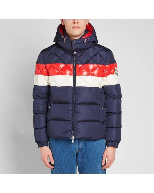 85f08d07f Moncler Janvry Hooded Down Jacket in Blue for Men - Lyst