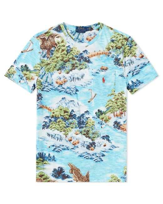 Polo Ralph Lauren - Blue Printed Landscape Pocket Tee for Men - Lyst