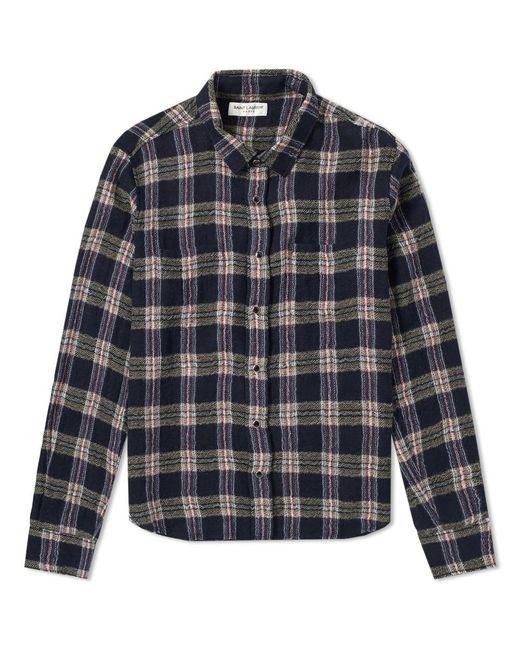 Men's Blue Heavy Flannel Check Shirt by Saint Laurent
