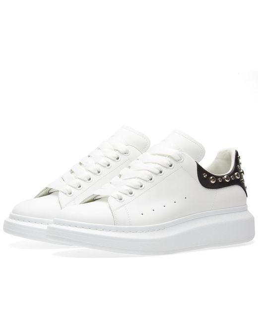 Alexander McQueen | White Wedge Sole Studded Heel Tab Sneaker for Men | Lyst