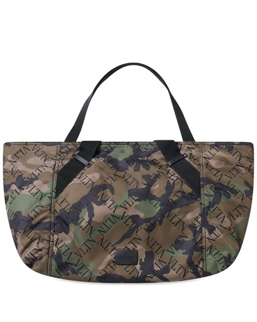 Valentino - Green Grid Logo Camo Holdall for Men - Lyst