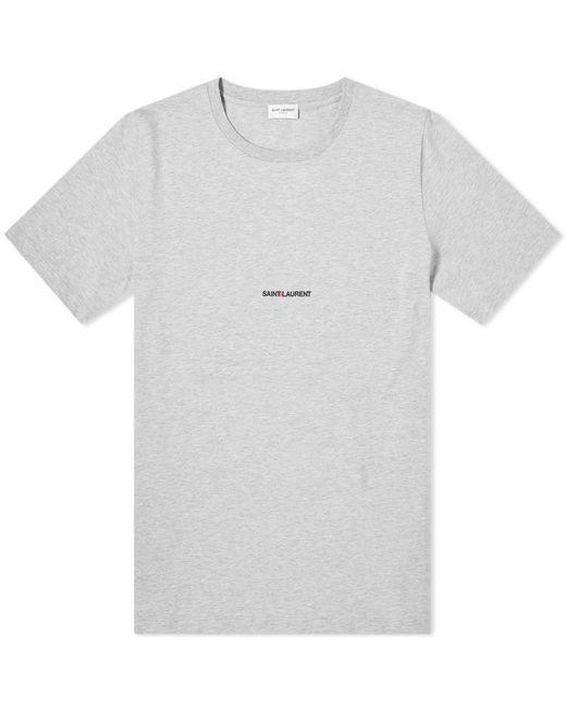 Saint Laurent - Gray Archive Logo Tee for Men - Lyst