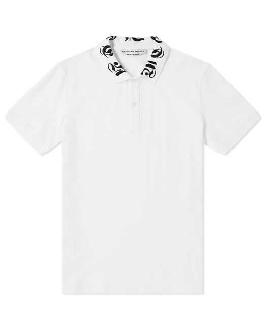 Alexander McQueen White Gothic Collar Logo Polo for men