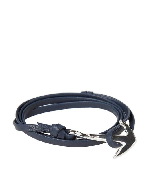 Miansai - Blue Silver Anchor Leather Bracelet for Men - Lyst