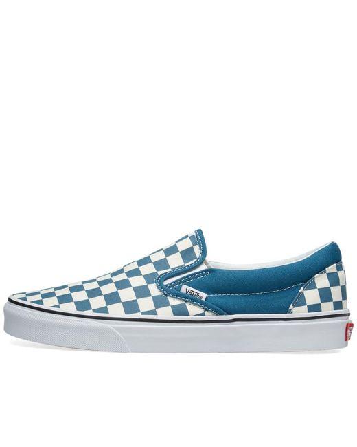c3c1b304b938cb Vans Classic Slip On Checkerboard in Blue for Men - Save 6% - Lyst