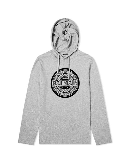 Balmain - Gray Flocked Coin Print Hooded Tee for Men - Lyst