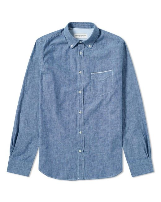 Officine Generale - Blue Button Down Japanese Selvedge Chambray Shirt for Men - Lyst