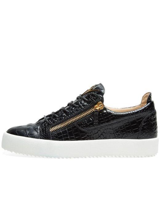 43ad1b2639328 ... Giuseppe Zanotti - Black Double Zip Low Croc Sneaker for Men - Lyst ...