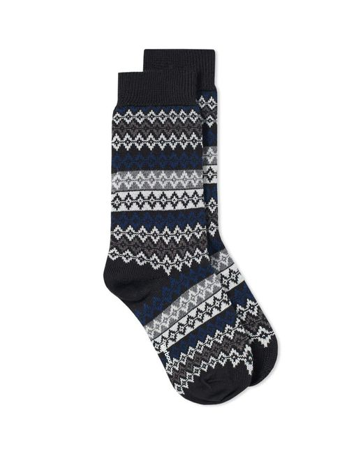Barbour - Black Duxbury Fair Isle Sock for Men - Lyst