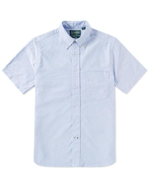 Gitman Brothers Vintage Short Sleeve Oxford Shirt In Blue