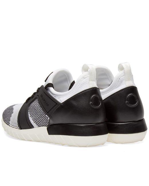 22b419295 ... Moncler - White Emilien Knitted Mix Sneaker for Men - Lyst ...