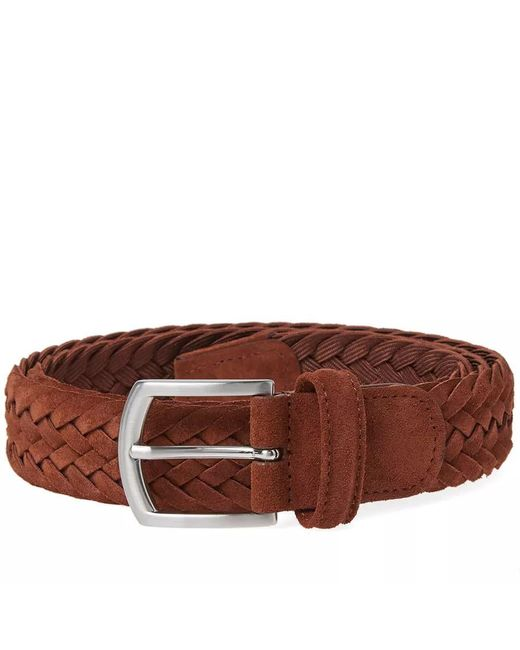 Andersons - Brown Anderson's Woven Suede Belt for Men - Lyst