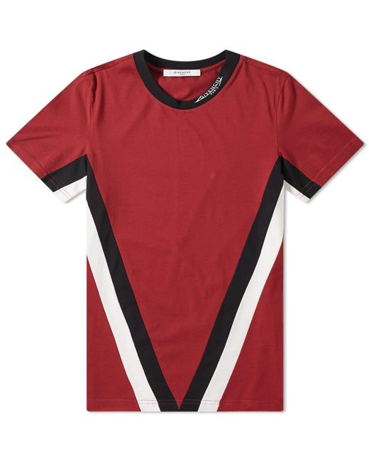 7890a037be42 Givenchy - Red V Band Logo Collar Tee for Men - Lyst ...