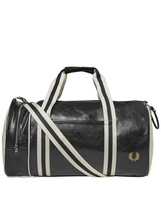 Fred Perry Authentic - Black Fred Perry Classic Barrel Bag for Men - Lyst