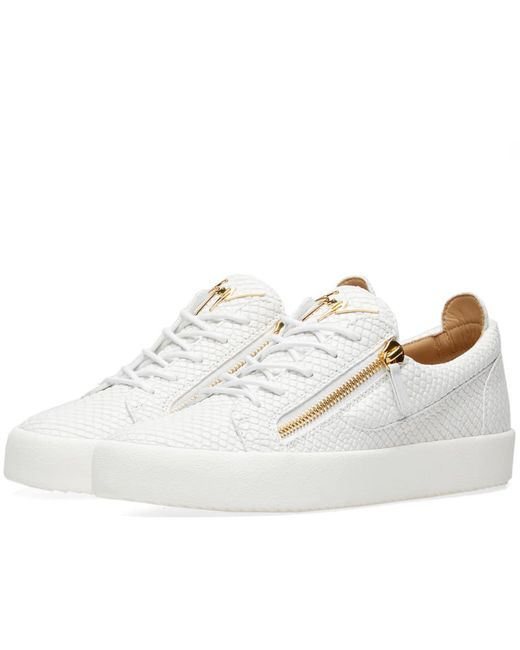 Giuseppe Zanotti - White Double Zip Python Leather Low Sneaker for Men - Lyst