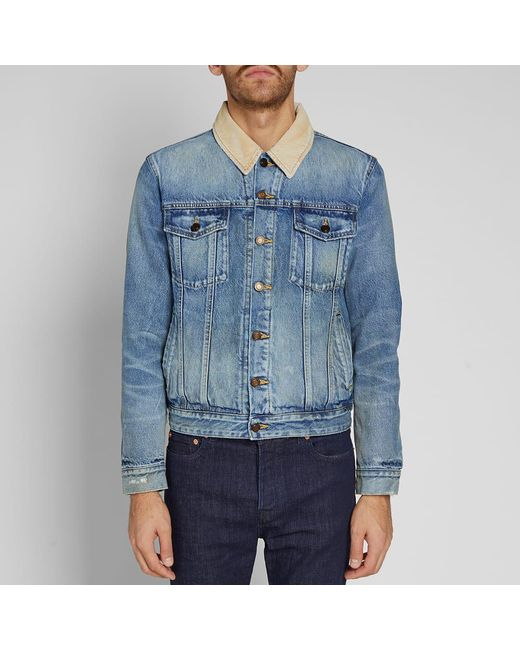 e7ec2fc942 ... Saint Laurent - Blue Corduroy Collar Denim Jacket for Men - Lyst ...