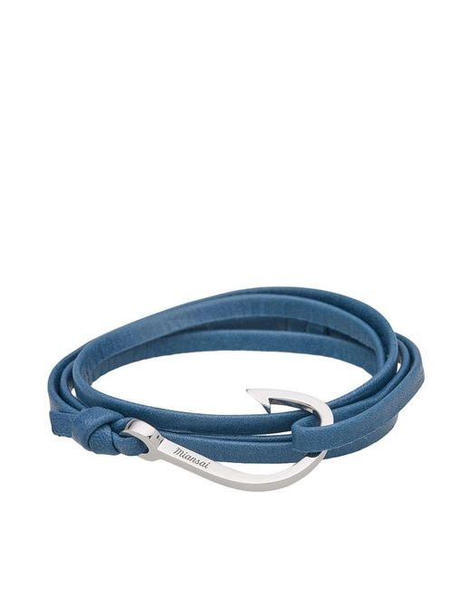Miansai | Blue Silver Hook Leather Bracelet | Lyst