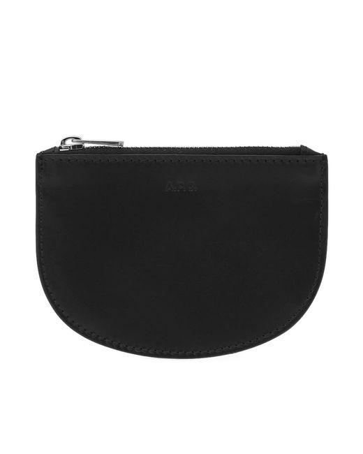 A.P.C. - Black Half Moon Zip Coin Wallet for Men - Lyst