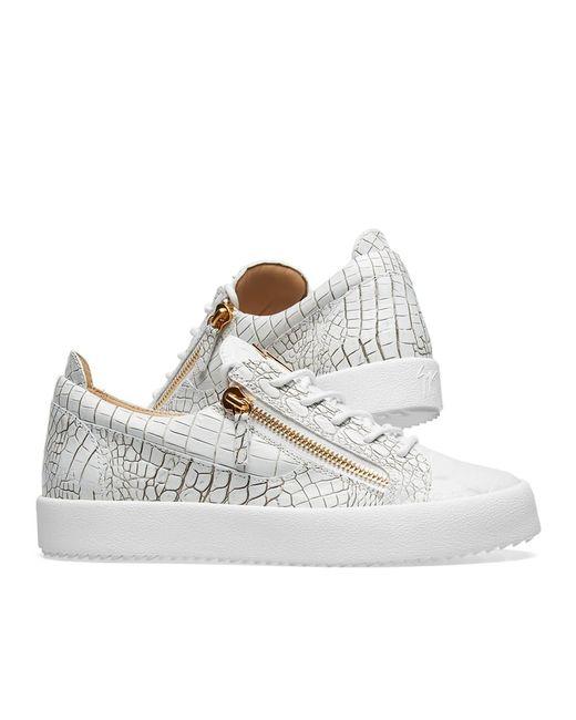 61d5fe73a11dc ... Giuseppe Zanotti - White Double Zip Low Croc Sneaker for Men - Lyst
