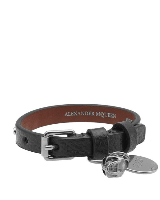 Alexander McQueen - Black Studded Leather Skull Bracelet for Men - Lyst